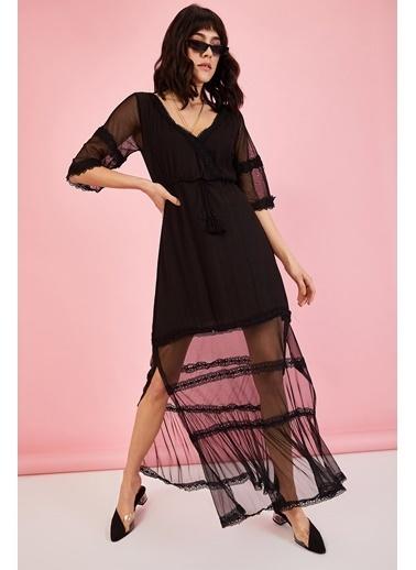 ESQ Tül ve Güpür Detaylı Elbise Siyah